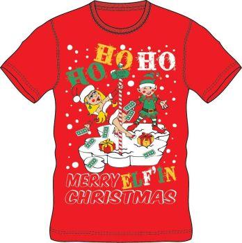 21A1411, Adults Christmas T shirt - HoHoHo Red £2.50.  pk24..