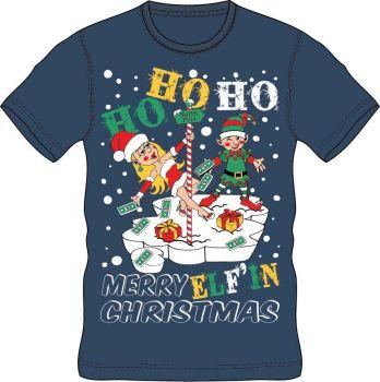 21A1412, Adults Christmas T shirt - HoHoHo Navy £2.50.  pk24..