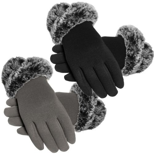 GLA159, Ladies Touch Screen Compatible Knitted Glove with Faux Fur Cuff £2.10.  pk12..
