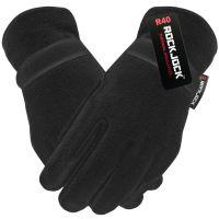 "GLT202R, ""RockJock"" Mens Black Fleece Gloves with R40 Thermal Insulation £1.75. pk24.."