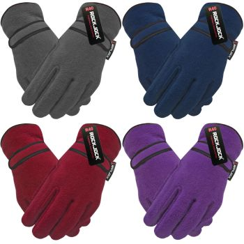 """GLT204R, """"RockJock"""" Ladies Fleece Gloves with R40 Thermal Insulation - Assorted Colours £1.60.  pk12.."""