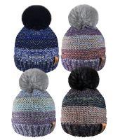 HAI406, Ladies Stripe Hat with Detachable Pom Pom £2.85.  pk24..