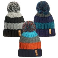"""HAI408, """"RockJock"""" Boys Knitted Striped Hat with Bobble £2.20.  pk12.."""