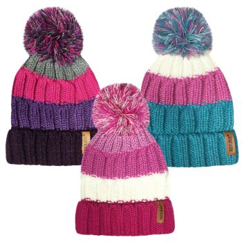 "HAI409, ""RockJock"" Girls Knitted Striped Hat with Bobble £1.95.  pk12.."