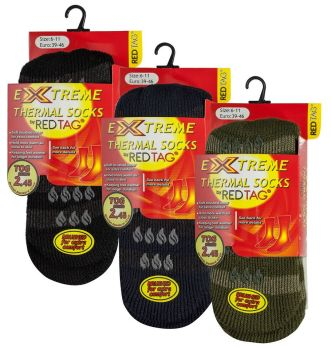 40B213, Mens Extreme Thermal Stripe Slipper Socks £1.75.  pk6..