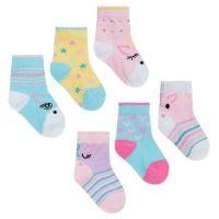 44B829, Baby Girls 3 in a pack cotton rich design socks £1.10.   24pks...