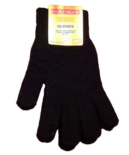 GLA130, Ladies black thermal gloves, 1 dozen...