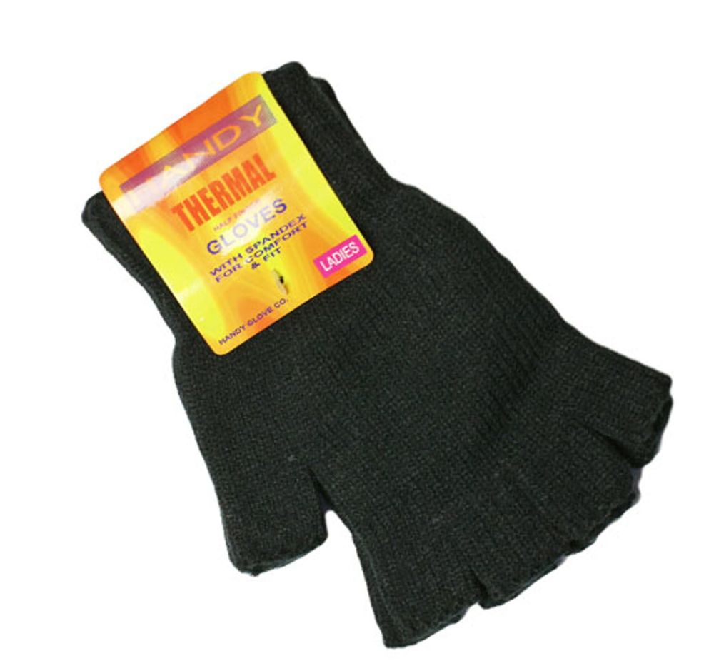 GLA132, Ladies black fingerless thermal gloves, 1 dozen...