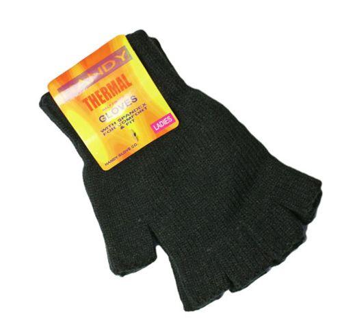 GLA132, Ladies black fingerless thermal gloves, 1 dozen...