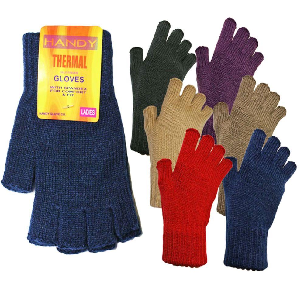 GLA133, Ladies fingerless gloves in assorted colours, 1 dozen..