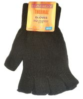 GLA136, Mens thermal fingerless gloves in black, 1 dozen...