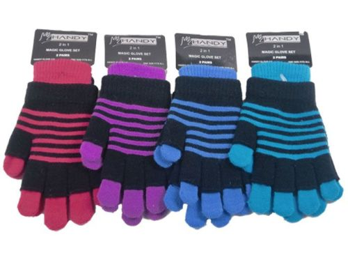 GLM89, Adults 2 in 1 magic striped gloves, 1 dozen...