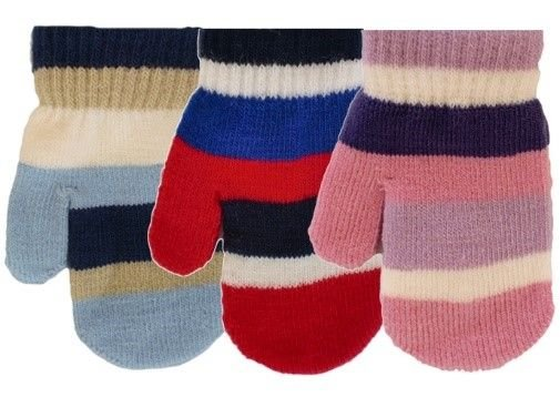 GLM103, Kids striped magic mittens, 1 dozen...