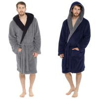 HT042, Mens Shaggy Fleece Hooded Robe £11.75.  pk12...