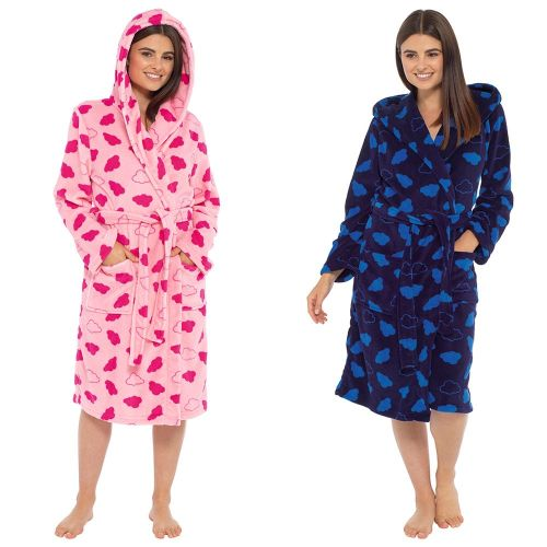 LN1016, Ladies Cloud Print Coral Fleece Hooded Robe £9.50.  pk12...