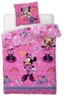 "*V6652, Official Minnie Mouse ""Cute"" Reversible Single Duvet Cover Set £8.50. pk3.."