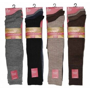 RL5710A, Mens Long Hose Fine Lambswool Socks- Assorted.  1 dozen...