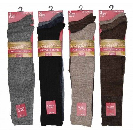 RL5710, Mens Long Hose Fine Lambswool Socks- Assorted.  1 dozen...