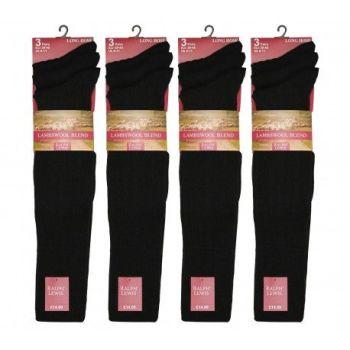 RL5710B, Mens Long Hose Fine Lambswool Socks- Black.  1 dozen...