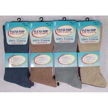 RL5203, Mens Big Foot Non Elastic 100% Cotton Socks- Fashion Assorted.  1 dozen...