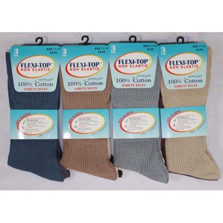 RL5207, Mens Big Foot Non Elastic 100% Cotton Socks- Dark Assorted.  1 doze