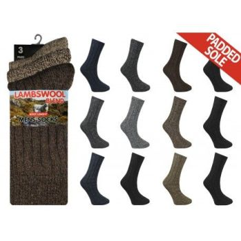 RL5700, Mens Wool Blend Padded Sole Socks.  1 dozen..