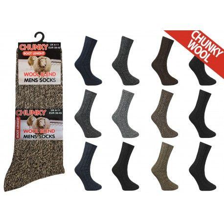 RL5707, Mens Chunky Wool Blend Socks.  1 dozen..