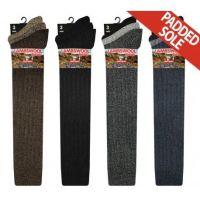RL5704, Mens Long Hose Wool Blend Padded Sole Socks.  1 dozen..