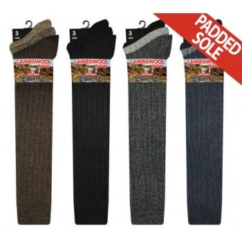 RL5704, Mens Long Hose Wool Blend Padded Sole Socks.  1 dozen..