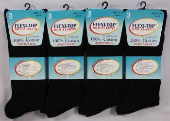 RL5205, Mens Big Foot Non Elastic 100% Cotton Socks- Black.  1 dozen...