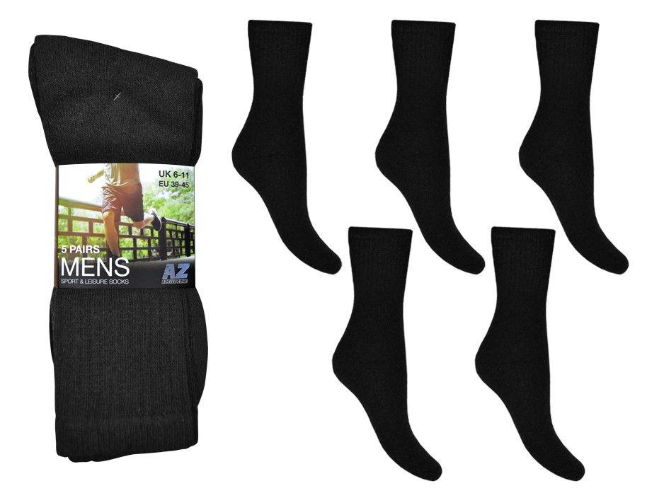 SP221, Mens 5 in a pack sport socks- Black £1.75. (minimum purchase 20 pair