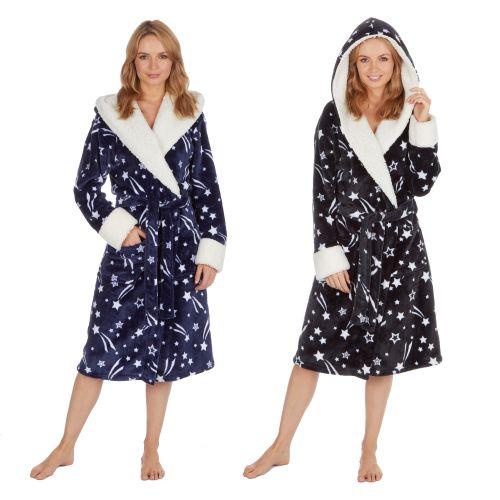 34B1437, Ladies Star Print Hooded Flannel Gown £10.95.  pk16..