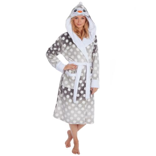 34B1444, Ladies Xmas Novelty Flannel Hooded Gown £10.80.  pk16...