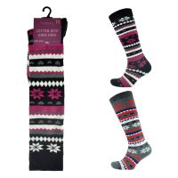 SK238, Ladies Fairisle Design Knee High Socks With £1.30.  pk12..