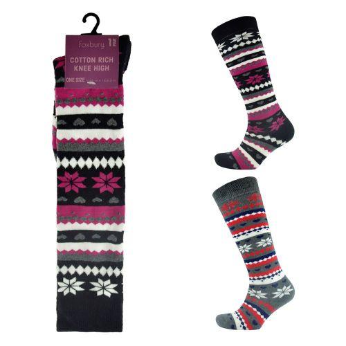 SK238, Ladies Fairisle Design Knee High Socks With £1.30.  pk12..