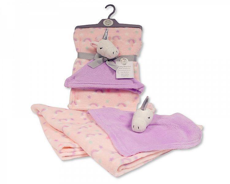 BW1008-DIA, Baby Blanket with Unicorn Comforter - Pink £4.95.  PK2..