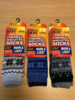 RH3562, Mens Fairisle Design Thermal Insulated Socks £1.50.  pk12...