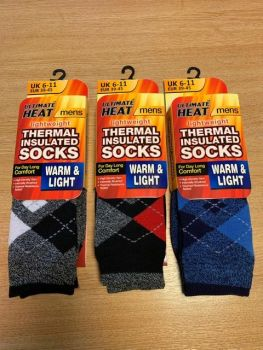 RH3569, Mens Argyle Design Thermal Insulated Socks £1.50.  pk12...