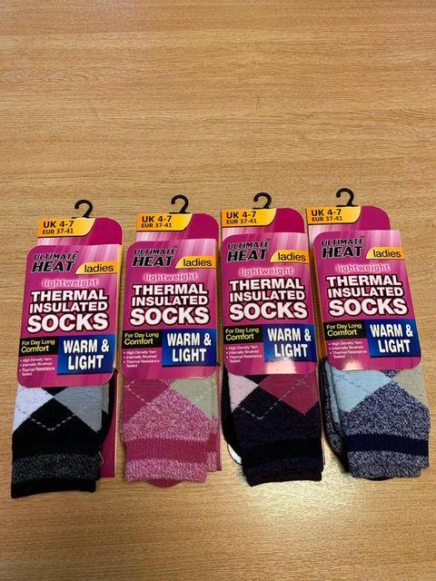 RH8521, Ladies Argyle Design Thermal Insulated Socks £1.50.  pk12..