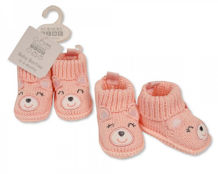 BSS374, Baby Girls Knitted Booties with Face Decoration £2.95.  pk6...