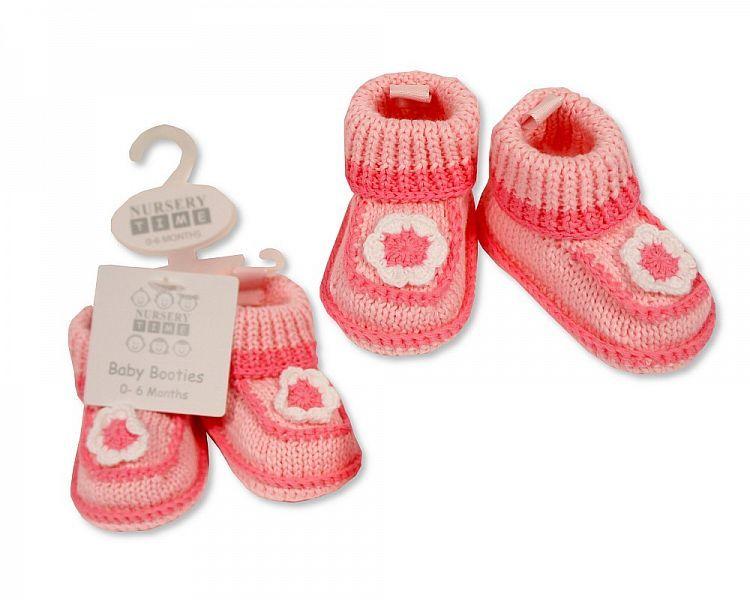 BSS373, Baby Girls Knitted Booties- Flower £2.95.  pk6...