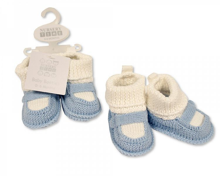BSS372, Baby Boys Knitted Booties with Strap £2.95.  pk6...