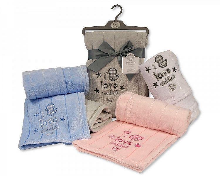 BW1015, Baby Wrap - I Love Cuddles £3.25.  PK3...