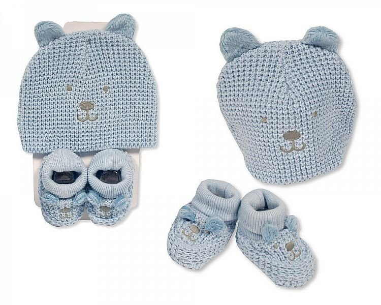 GP954, Baby Hat and Booties Set - Boys £4.95.  PK6..