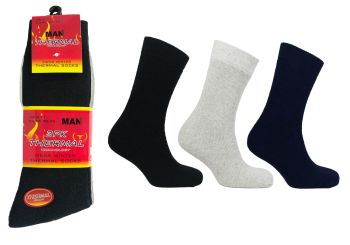 UT9867, Mens Thermal Socks - Assorted Colours.  1 dozen...