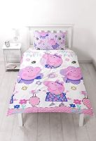 "*V202, Official ""Peppa Pig""""Happy"" reversible single duvet cover set (OUT OF STOCK) £7.95.  pk3.."