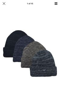 RM1612, Mens ribbed melange hat with thermal lining £1.15.  pk12..