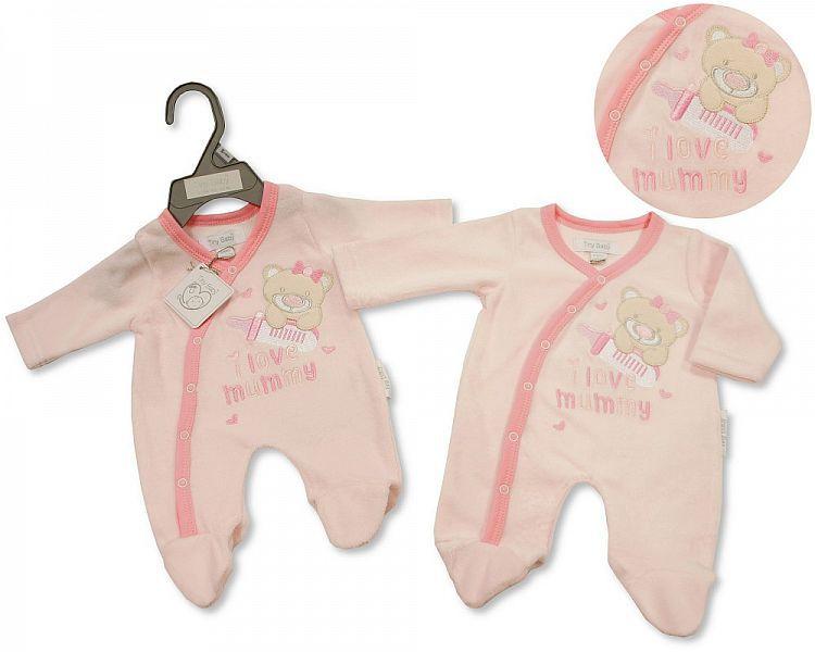 *PB0081, Premature Baby Girls Velour All in One - I Love Mummy £3.95.  PK6.