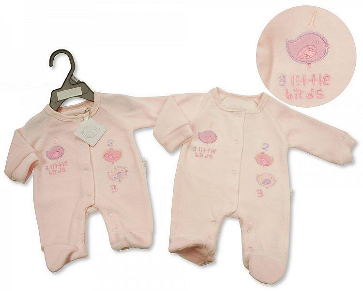 *PB0079, Premature Baby Girls Velour All in One - Little Birds £3.95.  PK6.