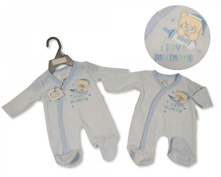 *PB0076, Premature Baby Boys Velour All in One - I Love Mummy £3.95.  PK6..